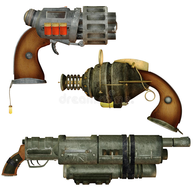 Steampunk weapons vector illustration