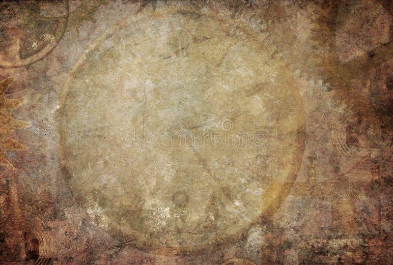 Steampunk-Weinlese-Beschaffenheits-Hintergrund stockbilder