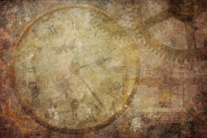 Steampunk-Weinlese-Beschaffenheits-Zeit-Hintergrund stockfotos