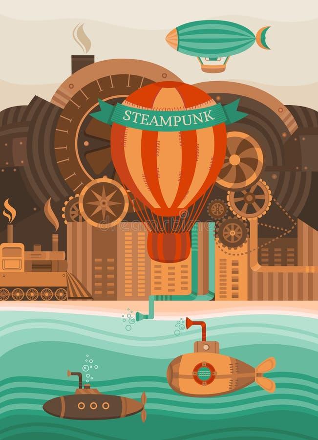 Steampunk wektoru tło royalty ilustracja