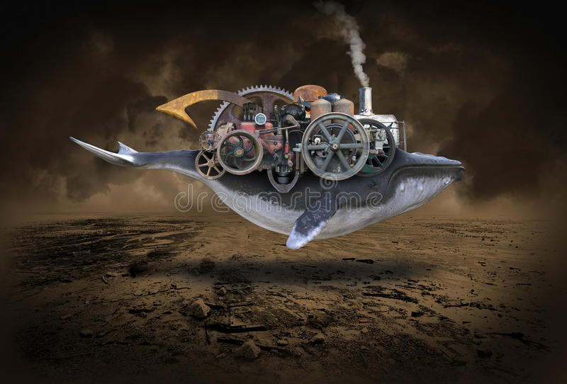 Steampunk Whale, Flying Machine, Imagination. Abstract concept of a steampunk technology whale with a flying machine. The sea creature is floating through the stock images