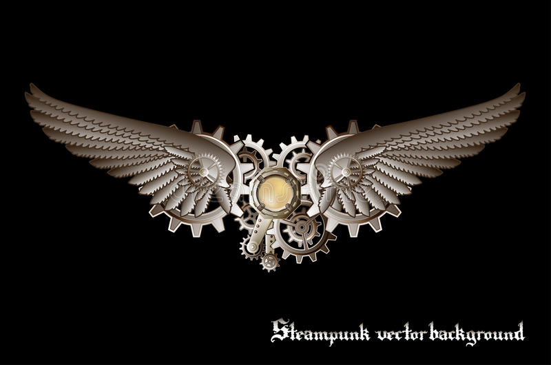 Steampunk wings. And gears background