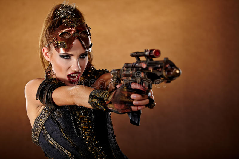 Steampunk woman. Fantasy fashion . stock photos