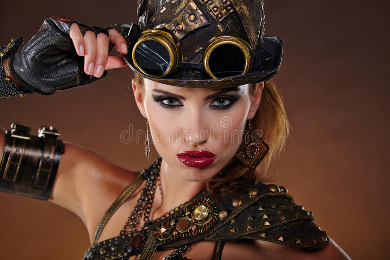 Steampunk woman. Fantasy fashion . royalty free stock photos