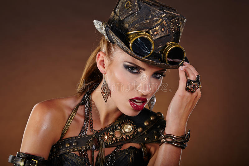 Steampunk woman. Fantasy fashion . stock image