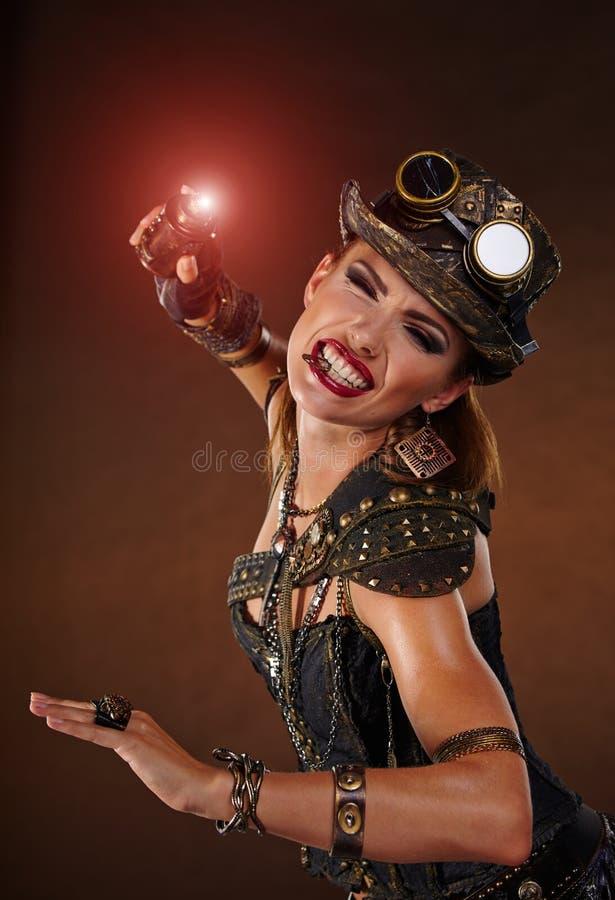 Steampunk woman. Fantasy fashion . Steampunk woman. Fantasy fashion for cover stock photography