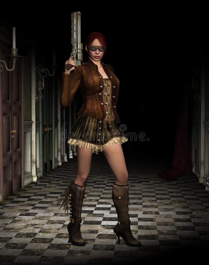 Steampunk woman with gun stock image