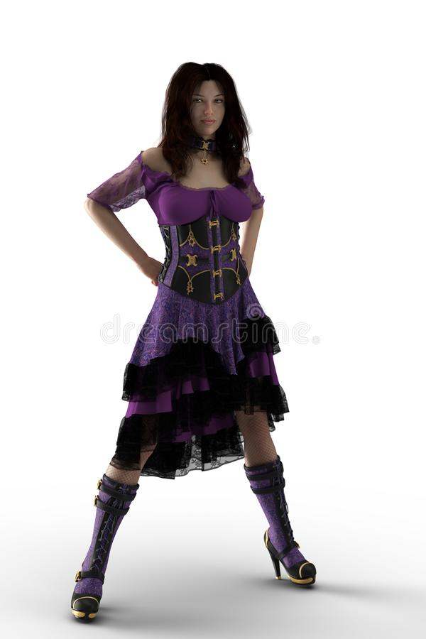 Steampunk Woman in Purple Dress royalty free stock photos