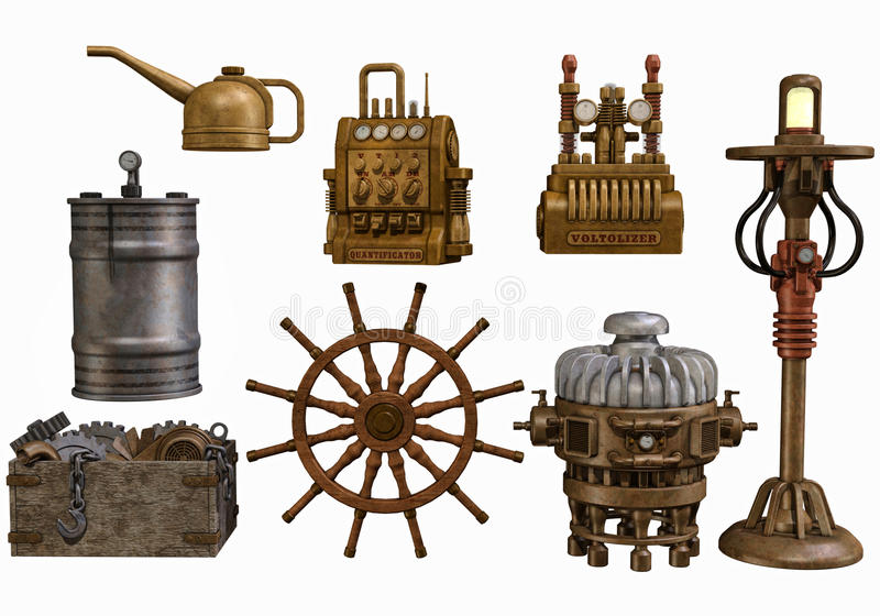 Steampunk workshop objects vector illustration