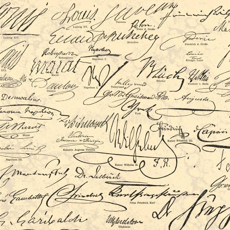 Steampunk wzorzystości papier Historycznej postaci podpisy - Wykonujący ręcznie - roczników Historyczni autografy - royalty ilustracja
