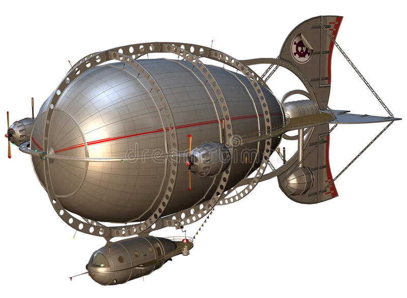 Steampunk zeppelin royalty free illustration