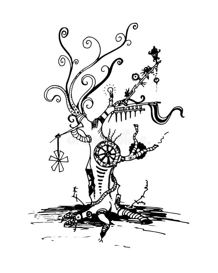 Steampunkboom - de kaartsamenvatting van de inkt vectorgroet Pijpen, rook, verontreiniging, toestellen, de robotachtige industrie stock illustratie
