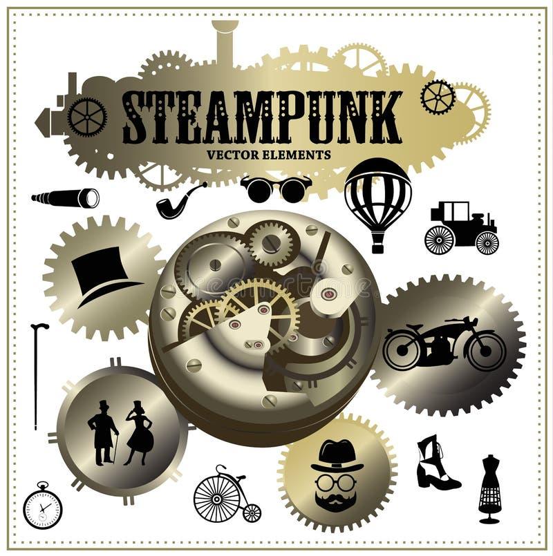 Steampunkelementen Vectoretiketten en pictogrammen vector illustratie