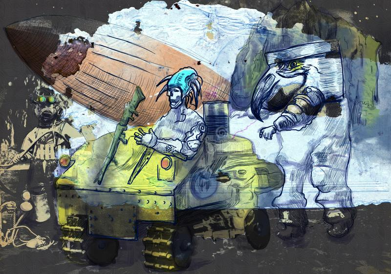 Steampunkers на луне - научная фантастика - обработка руки вычерченная ретро стоковые изображения rf
