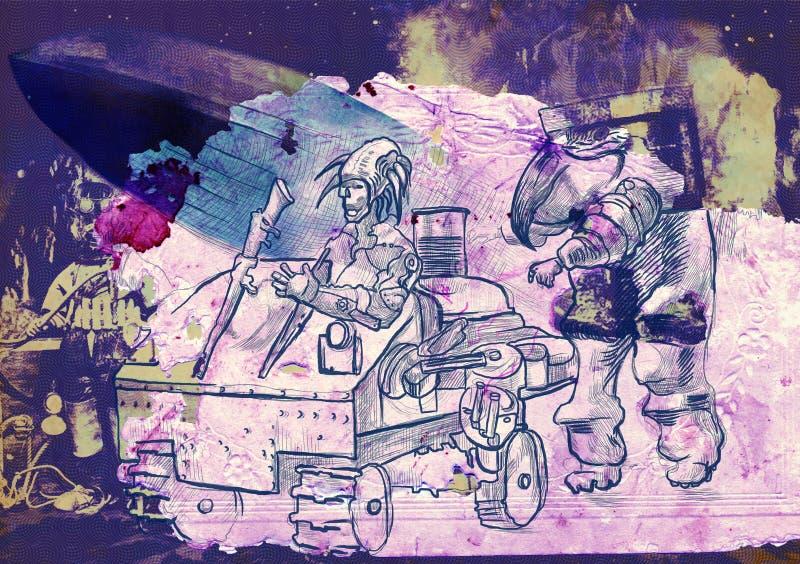 Steampunkers на луне - научная фантастика - обработка руки вычерченная ретро стоковая фотография