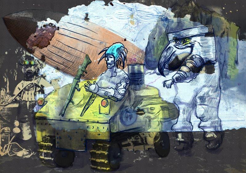 Steampunkers sulla luna - fantascienza - elaborazione tirata della mano retro royalty illustrazione gratis