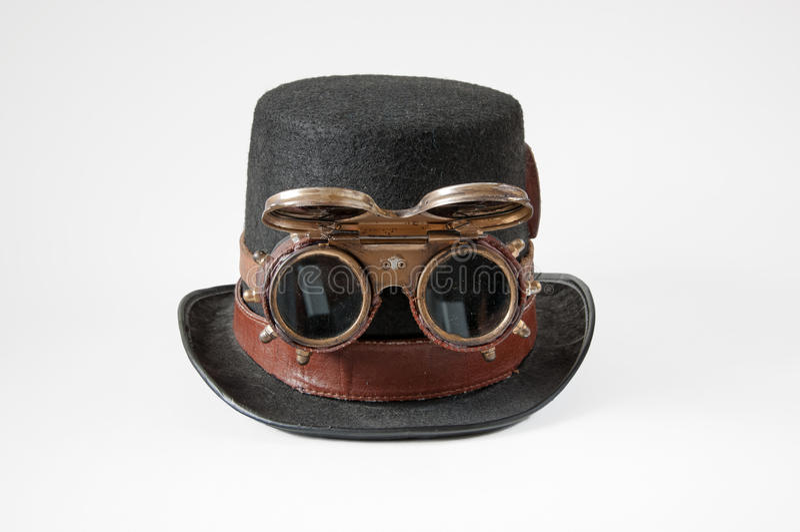 Steampunkhoed en beschermende brillen stock afbeelding