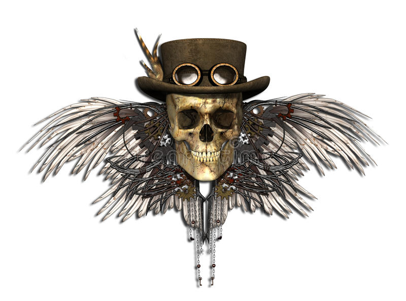 Steampunkschedel royalty-vrije illustratie