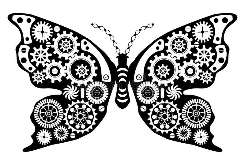 Steampunkvlinder Fantastisch insect in uitstekende stijl voor tatoegering, sticker, druk en decoratie royalty-vrije illustratie