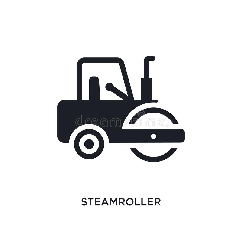 Steamroller isolated icon. simple element illustration from construction concept icons. steamroller editable logo sign symbol. Design on white background. can royalty free stock photography