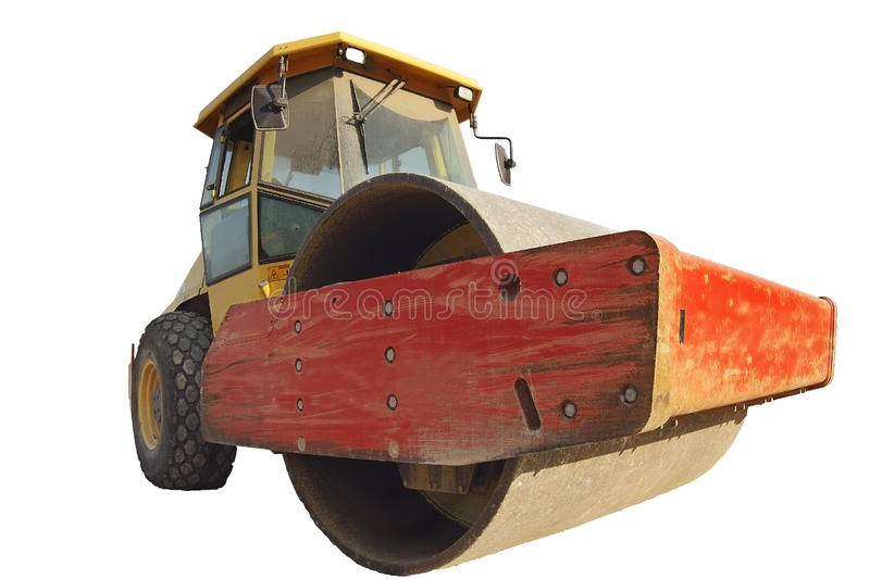 Steamroller, paving roller isolated in a white background stock photography