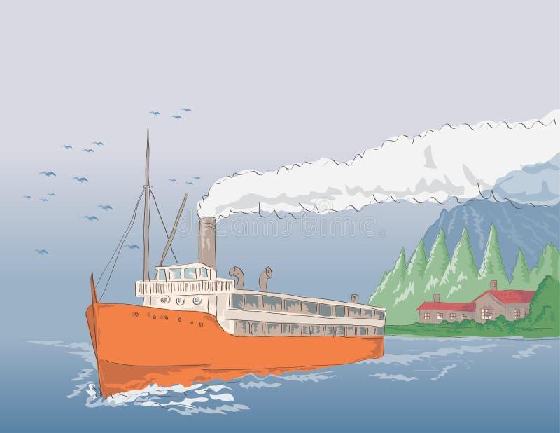 Steamship Sailing In The Seas Stock Photos