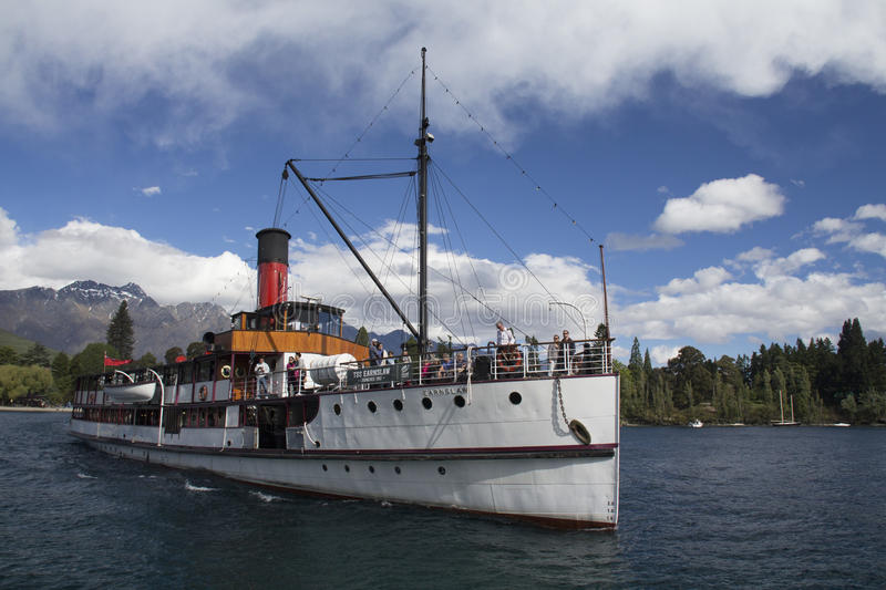 Steamship TSS Earnslaw in Queenstown, New Zealand royalty free stock photo