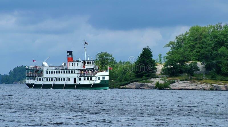 Steamship Wenonah II cruising on Lake Muskoka stock image