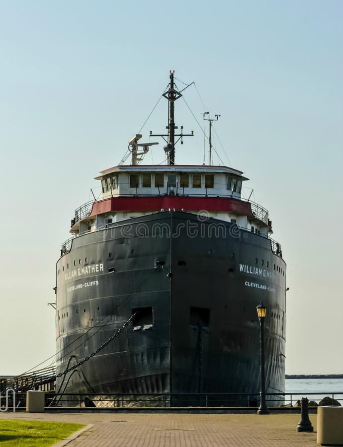 Steamship William G. Mather Maritime Museum Downtown Cleveland Ohio. Steamship William G. Mather is a historic retired Great Lakes bulk freighter that`s now been stock photo