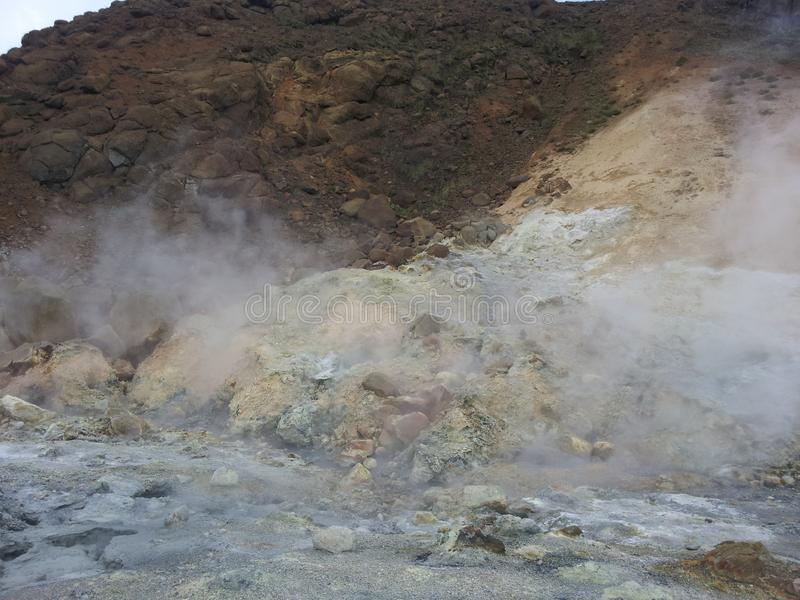 Steamy geothermal field royalty free stock image