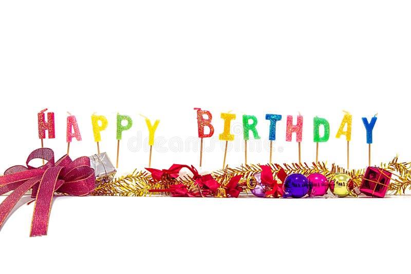 Stearinljus är bokstäver för lycklig födelsedag royaltyfria foton