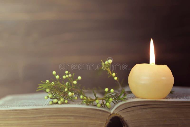 Stearinljus, bok och blommor fotografering för bildbyråer