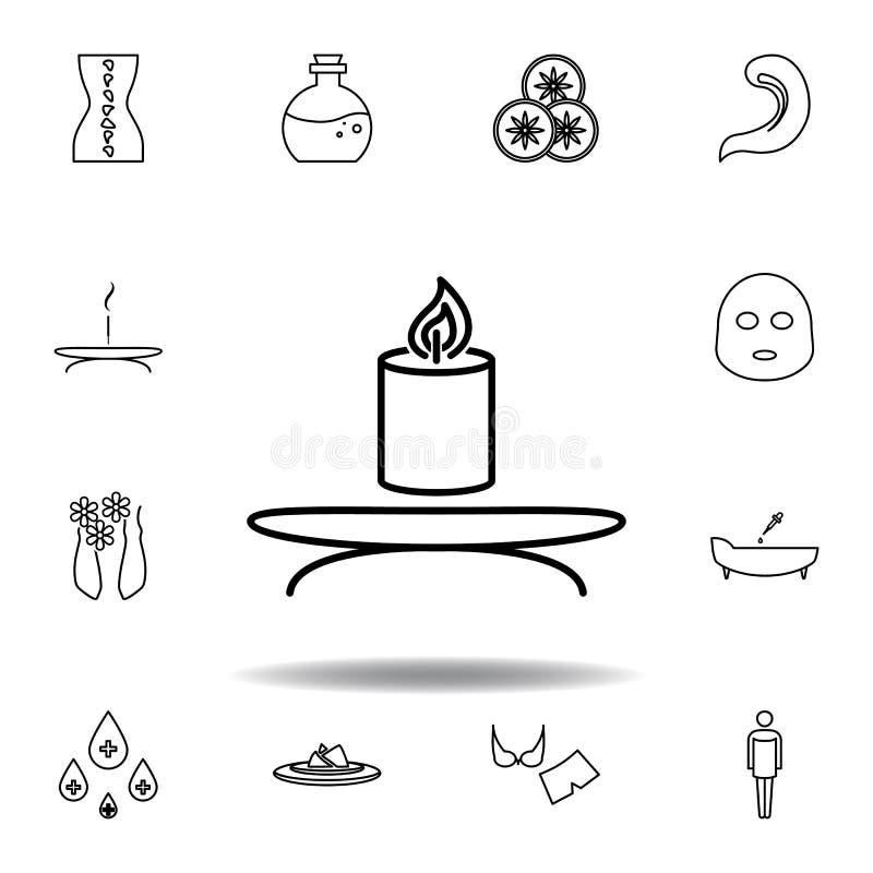 Stearinljus brunnsort?versiktssymbol Detaljerad uppsättning av brunnsorten och att koppla av illustrationsymbolen Kan anv?ndas f? vektor illustrationer