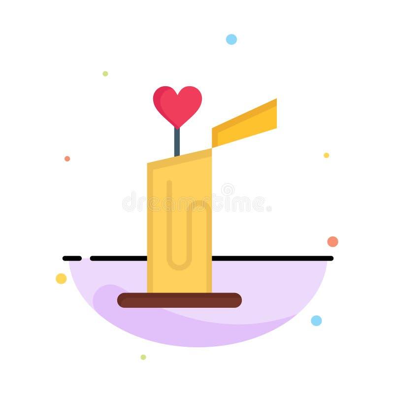 Stearinljus förälskelse, bröllop, för färgsymbol för hjärta abstrakt plan mall stock illustrationer