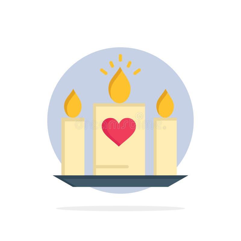 Stearinljus förälskelse, hjärta, symbol för färg för bakgrund för bröllopabstrakt begreppcirkel plan vektor illustrationer