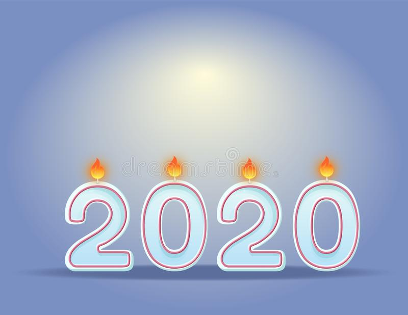 2020 stearinljus f royaltyfri illustrationer