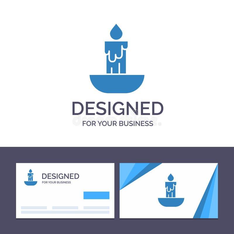 Stearinljus för idérik mall för affärskort och logo, brand, påsk, ferievektorillustration stock illustrationer