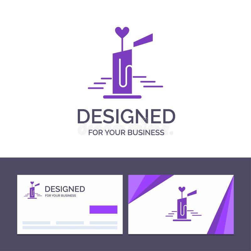 Stearinljus för idérik mall för affärskort och logo, förälskelse, bröllop, hjärtavektorillustration royaltyfri illustrationer