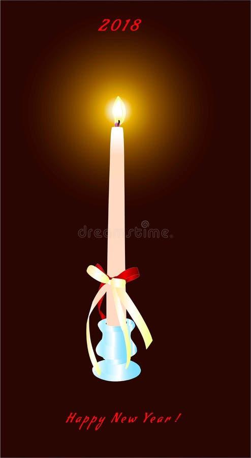 Stearinljus för ` s för nytt år i en ljusstake i ett mörkt rum royaltyfri illustrationer