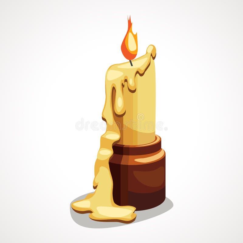 Stearinljus för tecknad filmteckningsbränning med stekflottvaxet vektor illustrationer