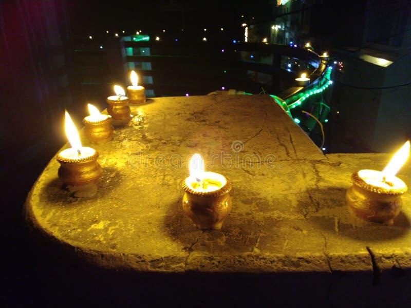 Stearinljus festlig diyasdiwalideepwali arkivbilder
