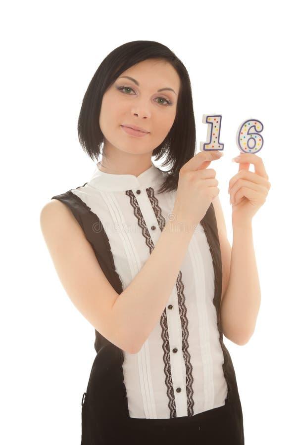 stearinljus hands henne kvinnan för holding två arkivfoton