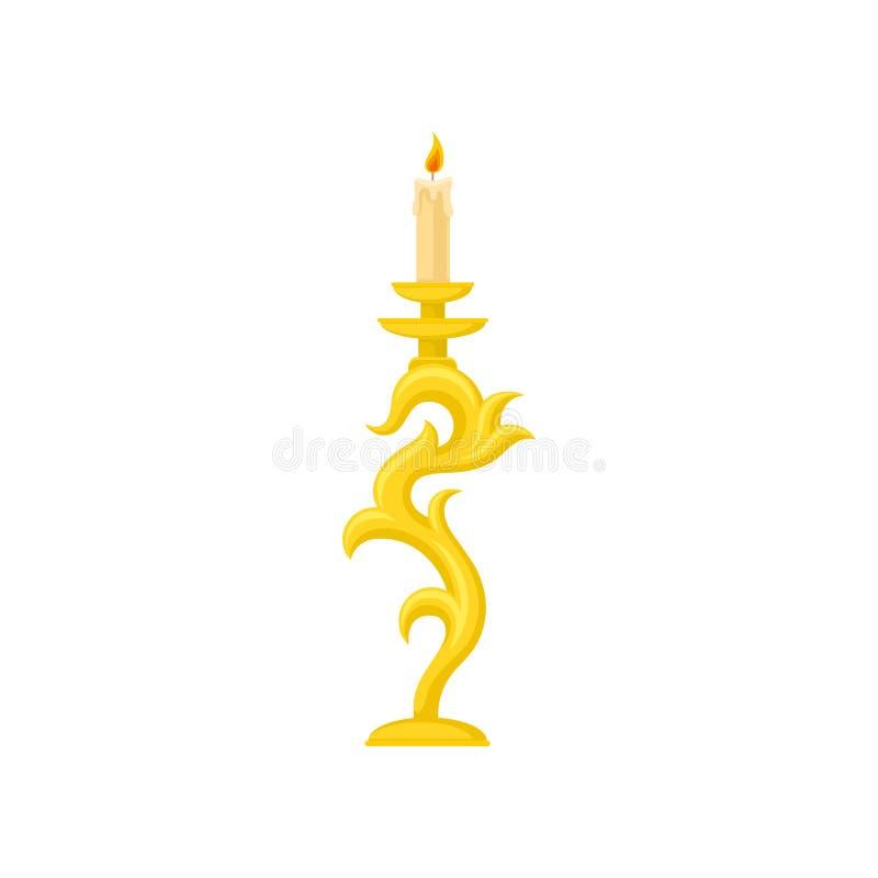 Stearinljus i den guld- ljusstaken, illustration för vektor för hållare för kurvtappningstearinljus på en vit bakgrund royaltyfri illustrationer