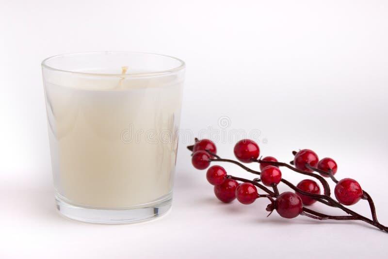 Stearinljus i exponeringsglas på vit bakgrund med röda bär, produktmodell royaltyfri fotografi