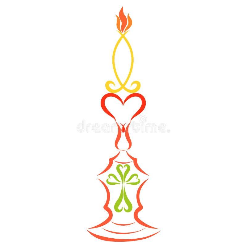 Stearinljus i formen av en fisk på en ljusstake med en hjärta och royaltyfri illustrationer