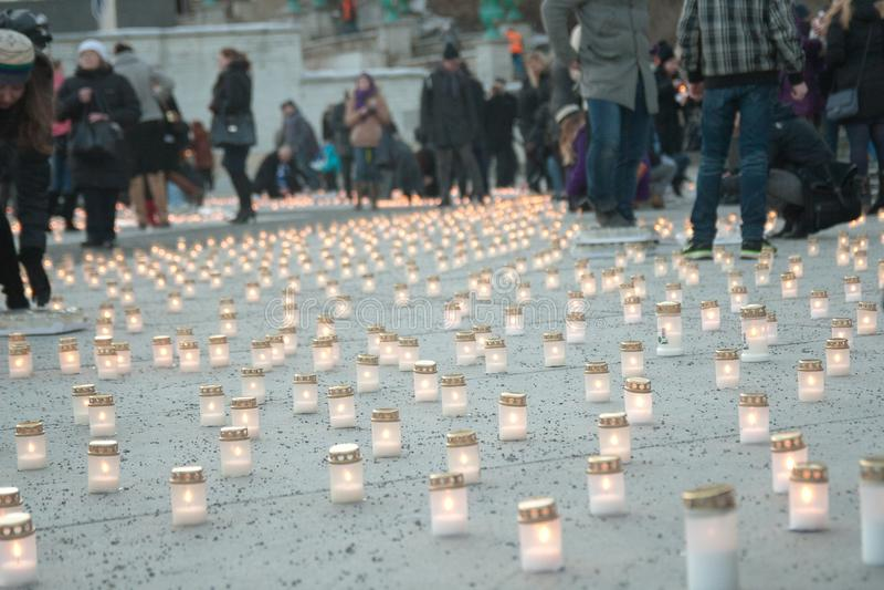 Stearinljus i Tallin Estland arkivfoton