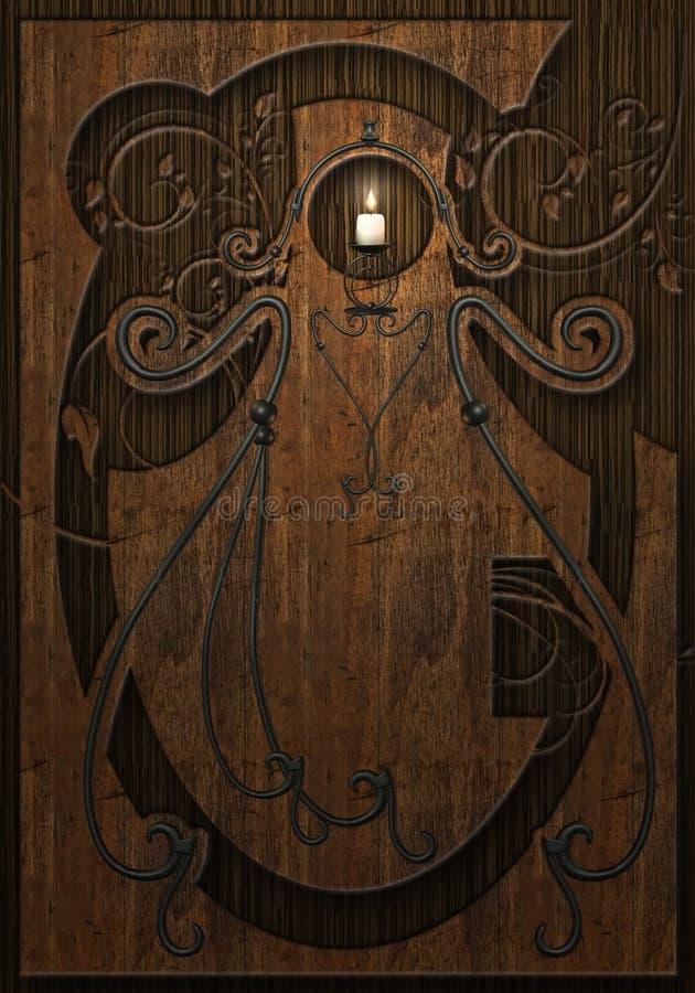 stearinljus inristat trä stock illustrationer