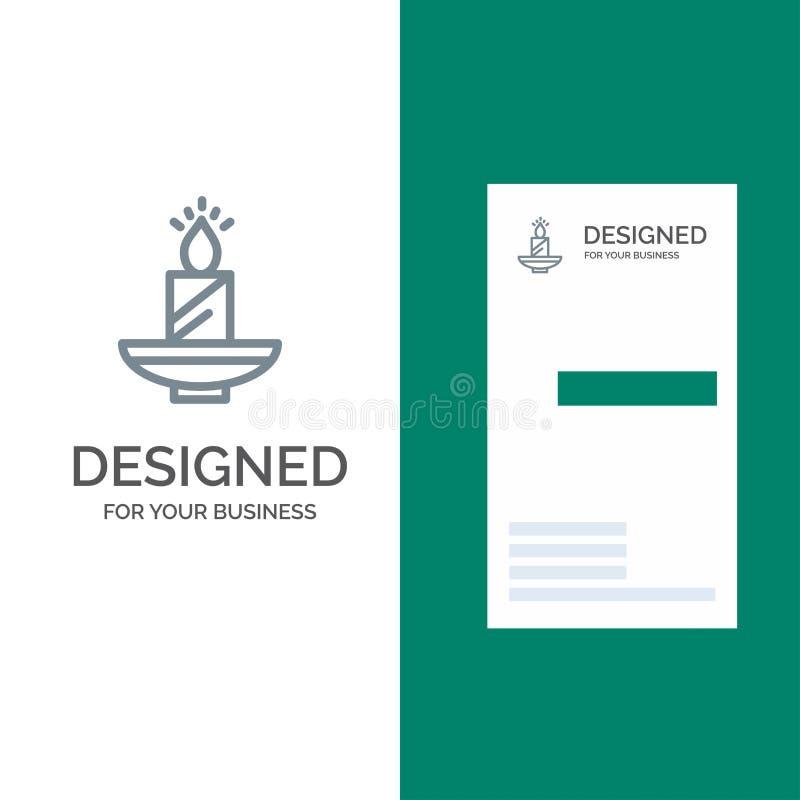 Stearinljus, jul, Diwali, påsk, lampa, ljus, vax Grey Logo Design och mall för affärskort vektor illustrationer