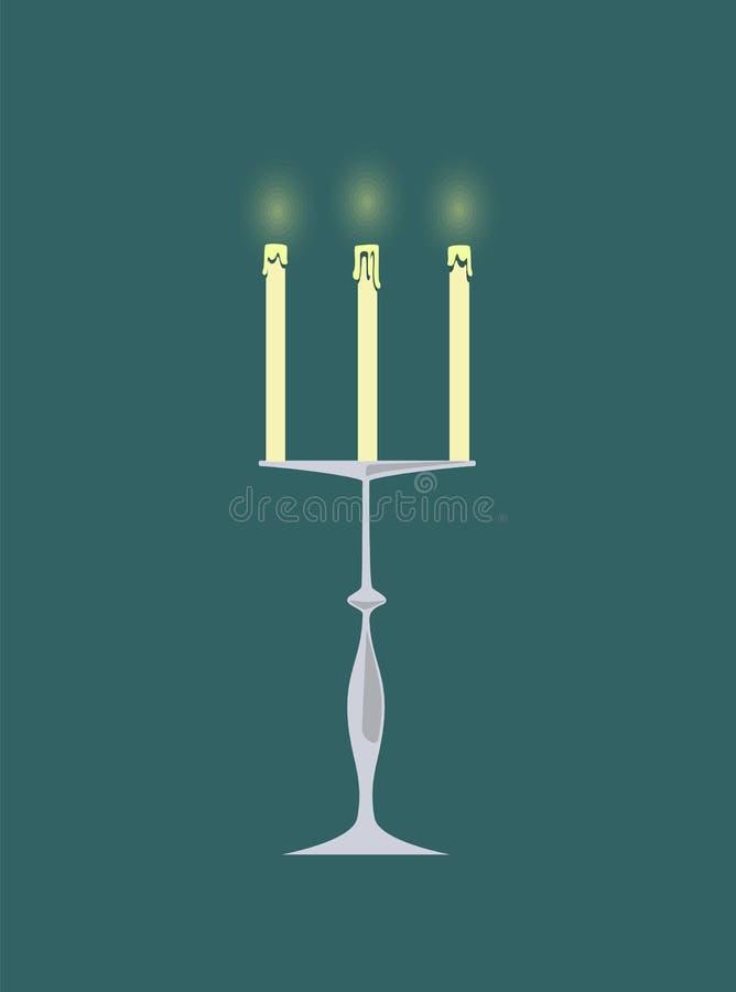 Stearinljus med bränningflammor, ljusstakedekor royaltyfri illustrationer