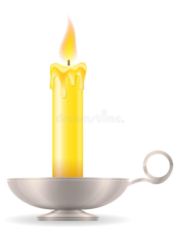 Stearinljus med för tappningsymbol för ljusstake gammal retro illu för vektor för materiel royaltyfri illustrationer